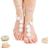 White Little Organza Flowers Barefoot Sandal, White, Wedding Anklet, Beach Wedding Barefoot sandals, Yoga, lolita, wedding barefoot sandal