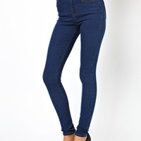 ASOS Ridley High Waist Ultra Skinny Jeans in Rich Dark Wash Blue