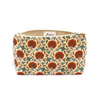 Makeup Bag / Cosmetic Bag in Retro Orange Floral Print Gift for Her -  Vintage Bridesmaid Gift, Birthday Gift, Mother's Day, handmade in USA