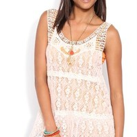 Floral Crochet Tank with Skirted Bottom
