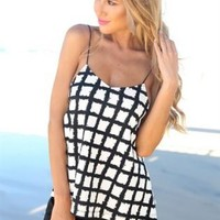 Black and White Grid Print Tank Top