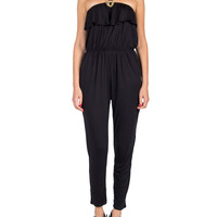 Ruffle Top Jersey Knit Jumpsuit - Black