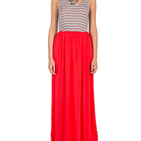 Striped Color Block Maxi Dress - Red