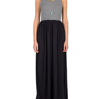 Striped Color Block Maxi Dress - Black
