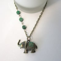 Elephant Necklace  Emerald Green by 636designs on Etsy