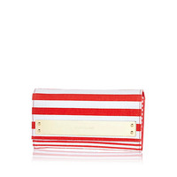 Red stripe metal bar trim purse