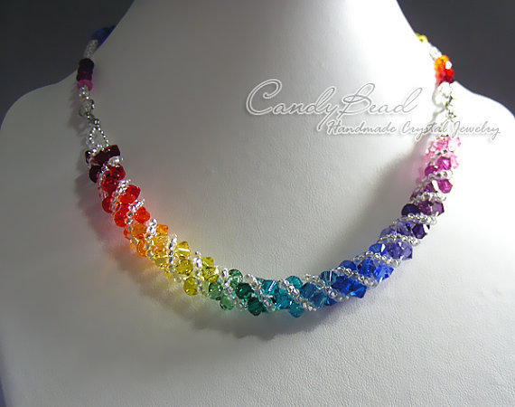 Swarovski necklace Spectrum rainbow twisty Swarovski by candybead