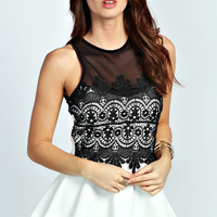 Mimi Crochet Detail Peplum Top