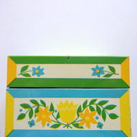 Vintage Metal Floral Recipe Card Box 1960s