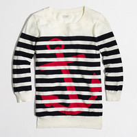 Factory intarsia stripe anchor crewneck sweater - crewnecks & boatnecks - FactoryWomen's Sweaters - J.Crew Factory
