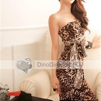 WYWL Stylish Leopard Low Back Tight Women Dress