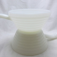Fire King white cereal bowl with handle 1950s milk glass