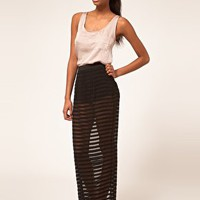 ASOS | ASOS Sheer Stripe Maxi Skirt With Hot Pants at ASOS