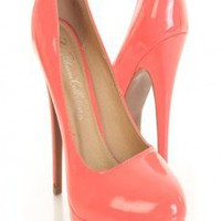 Coral Faux Patent Leather Almond Closed Toe Platform Pump Heels @ Amiclubwear Heel Shoes online store sales:Stiletto Heel Shoes,High Heel Pumps,Womens High Heel Shoes,Prom Shoes,Summer Shoes,Spring Shoes,Spool Heel,Womens Dress Shoes,Prom Heels,Prom Pumps