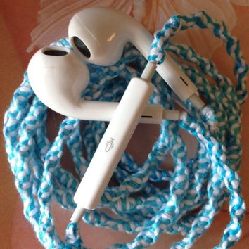 "Wrapped Tangle Free Earbuds ""Tiffany Blue and White Swirl"" Headphones Made for Apple iPhone 4s, 5, 5c, 5s, iPad, iPod, EarPods, Headphones"
