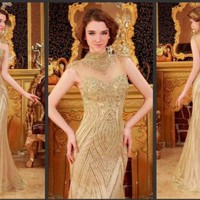 YZ Crystals luxury A-line High Collar Hand made Sequins Sexy Dress