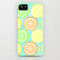 Citrus Wheels (Aqua) iPhone & iPod Case by Lisa Argyropoulos | Society6