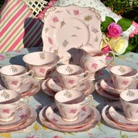 Tuscan China Pink Windswept Pattern Vintage Tea Set for Six c.1947+