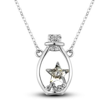 MagicPieces Women's Alloy Wishing Bottle Shape with Rhinestone Star Platium Plating Necklace Color White