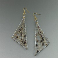Garnet Wire Wrapped Aluminum Geometric Earrings - Large