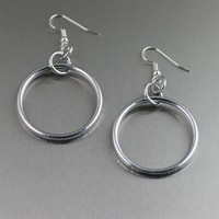 Chased Rim Aluminum Hoop Earrings