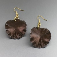 Brown Anodized Aluminum Lily Pad Earrings – Medium