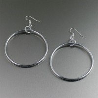 Chased Aluminum Hoop Earrings