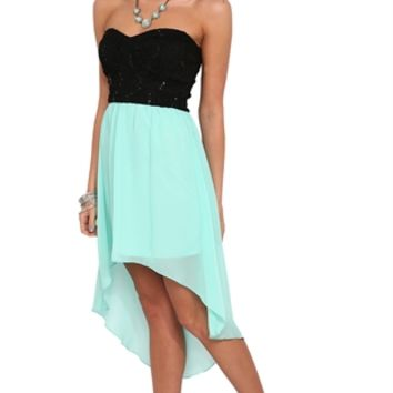 Strapless Dress with Sequin Lace Bodice and Chiffon High Low Skirt
