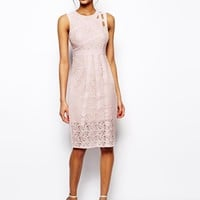 ASOS Midi Dress With Strapping and lace