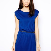 Sessun Jersey Dress with Button Shoulder and Weave Belt