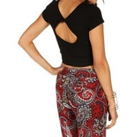 Black Twist Back Crop Tee
