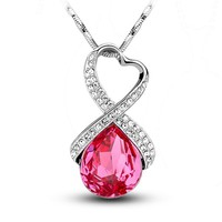 MagicPieces Women's Alloy Gem Pendant Platium Plating Rhinestone Necklace Color Rose Red