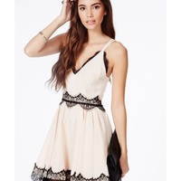 Missguided - Berneen Nude Puffball Skater Dress With Eyelash Lace