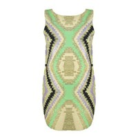 Women Tribal Aztec Hand-embellished Sequin Sleeveless Slim Fit Party Mini Dress