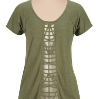 Lattice front short sleeve tee