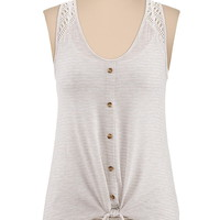Shadow stripe tie front crochet trim tank