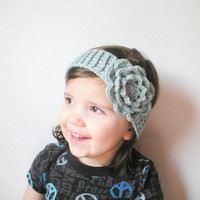 Wool Crochet Toddler Girls Headband in Seafoam with Irish Rose, ready to ship. $12.00