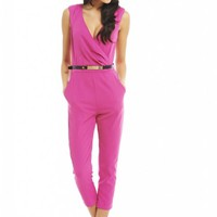 Wrap Front Gold Belt Pink Jumpsuit