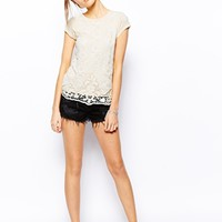 Warehouse Capped Sleeve Lace Top