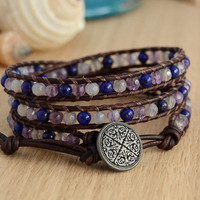 Purple and blue wrap bracelet. Multicolored beaded bracelet.