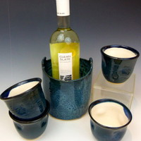 Wine Cooler and Cups in Peacock Blue » Craftori