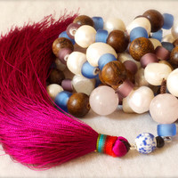 Rose quartz 108 prayer beads Mala Taurus birthstone Large baroque pearls Fuchsia Radiant Orchid tassel January Hot pink Yoga Namaste Heart