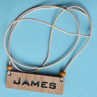 Custom Made Wooden Label with Name, Necklace, Keyring