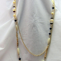 double strand gold tone necklace and bracelet long necklace and cream pearls beads vintage lot set crystal