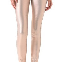 Coated Skinny Jeans in Liquid Metallic