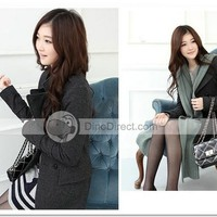 AIER Women Stand Collar Double Breasted Thigh Length Wool Overcoat - DinoDirect.com