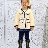 Crème Tulle Trim Furry Jacket - Toddler & Girls | something special every day