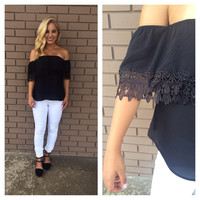 Black Eyelet Off Shoulder Top