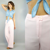 vintage 1960's PINK + WHITE preppy summer picnic high waist GINGHAM trousers, extra small-small
