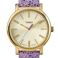 Timex® Round Pebbled Leather Strap Watch, 38mm | Nordstrom